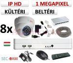 Sec-CAM 1MP IP - KÜLTÉRI / BELTÉRI DÓM KAMERA - 8 KAMERÁS KOMPLETT KAMERARENDSZER - valódi 1 MegaPixel (HD 720p) biztonsági megfigyelő szett