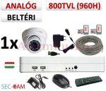 Sec-CAM 960H - 800-1200TVL (0.55MP) ANALÓG - BELTÉRI DÓM KAMERA - 1 KAMERÁS KOMPLETT KAMERARENDSZER - biztonsági megfigyelő szett
