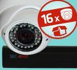 Sec-CAM 2MP POE IP - KÜLTÉRI / BELTÉRI DÓM KAMERA - 16 KAMERÁS KOMPLETT KAMERARENDSZER - valódi 2 MegaPixel (FULL HD 1080p) biztonsági megfigyelő szett