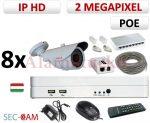 Sec-CAM 2MP 12V DC IP - KÜLTÉRI KOMPAKT KAMERA - 8 KAMERÁS KOMPLETT KAMERARENDSZER - valódi 2 MegaPixel (FULL HD 1080p) biztonsági megfigyelő szett