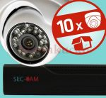Sec-CAM 1.3MP IP - KÜLTÉRI / BELTÉRI DÓM KAMERA - 10 KAMERÁS KOMPLETT KAMERARENDSZER - valódi 1.3 MegaPixel (HD 960p) biztonsági megfigyelő szett