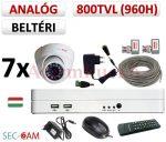 Sec-CAM 960H - 800-1200TVL (0.55MP) ANALÓG - BELTÉRI DÓM KAMERA - 7 KAMERÁS KOMPLETT KAMERARENDSZER - biztonsági megfigyelő szett
