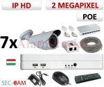 Sec-CAM 2MP 12V DC IP - KÜLTÉRI KOMPAKT KAMERA - 7 KAMERÁS KOMPLETT KAMERARENDSZER - valódi 2 MegaPixel (FULL HD 1080p) biztonsági megfigyelő szett - NETPEARL NVR