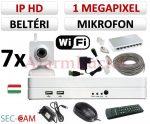 Sec-CAM 1MP WIFI IP - BELTÉRI WIFI KOCKA KAMERA - 7 KAMERÁS KOMPLETT KAMERARENDSZER - vezeték nélküli hangrögzítős valódi 1 MegaPixel (HD 720p) biztonsági megfigyelő szett