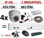 Sec-CAM 1MP IP - KÜLTÉRI / BELTÉRI DÓM KAMERA - 4 KAMERÁS KOMPLETT KAMERARENDSZER - valódi 1 MegaPixel (HD 720p) biztonsági megfigyelő szett