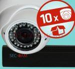 Sec-CAM 2MP POE IP - KÜLTÉRI / BELTÉRI DÓM KAMERA - 10 KAMERÁS KOMPLETT KAMERARENDSZER - valódi 2 MegaPixel (FULL HD 1080p) biztonsági megfigyelő szett