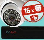 Sec-CAM 1MP IP - KÜLTÉRI / BELTÉRI DÓM KAMERA - 16 KAMERÁS KOMPLETT KAMERARENDSZER - valódi 1 MegaPixel (HD 720p) biztonsági megfigyelő szett