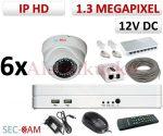 Sec-CAM 1.3MP IP - KÜLTÉRI / BELTÉRI DÓM KAMERA - 6 KAMERÁS KOMPLETT KAMERARENDSZER - valódi 1.3 MegaPixel (HD 960p) biztonsági megfigyelő szett