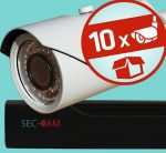 Sec-CAM 2MP AHD - VARIFOKÁLIS KÜLTÉRI KOMPAKT KAMERA - 10 KAMERÁS KOMPLETT KAMERARENDSZER - valódi 2 MegaPixel (FULL HD 1080p) biztonsági megfigyelő szett
