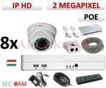 Sec-CAM 2MP 12V DC IP - KÜLTÉRI / BELTÉRI DÓM KAMERA - 8 KAMERÁS KOMPLETT KAMERARENDSZER - valódi 2 MegaPixel (FULL HD 1080p) biztonsági megfigyelő szett