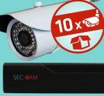 Sec-CAM 2MP AHD - KÜLTÉRI KOMPAKT KAMERA - 10 KAMERÁS KOMPLETT KAMERARENDSZER - valódi 2 MegaPixel (FULL HD 1080p) biztonsági megfigyelő szett