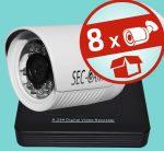 Sec-CAM 2MP POE (48V DC) IP - KÜLTÉRI KOMPAKT KAMERA - 8 KAMERÁS KOMPLETT KAMERARENDSZER - valódi 2 MegaPixel (FULL HD 1080p) biztonsági megfigyelő szett - ATLANTIS NVR