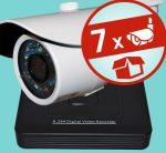 Sec-CAM 1MP AHD - KÜLTÉRI KOMPAKT KAMERA - 7 KAMERÁS KOMPLETT KAMERARENDSZER - valódi 1 MegaPixel (HD 720p) biztonsági megfigyelő szett