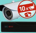 Sec-CAM 1MP AHD - KÜLTÉRI KOMPAKT KAMERA - 10 KAMERÁS KOMPLETT KAMERARENDSZER - valódi 1 MegaPixel (HD 720p) biztonsági megfigyelő szett