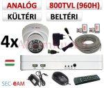 Sec-CAM 960H - 800-1200TVL (0.55MP) ANALÓG - KÜLTÉRI/BELTÉRI DÓM KAMERA - 4 KAMERÁS KOMPLETT KAMERARENDSZER - biztonsági megfigyelő szett