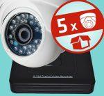 Sec-CAM 1MP AHD - KÜLTÉRI / BELTÉRI DÓM KAMERA - 5 KAMERÁS KOMPLETT KAMERARENDSZER - valódi 1 MegaPixel (HD 720p) biztonsági megfigyelő szett