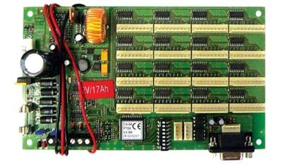 SATEL CA64PTSA szinoptikus panel beépített 1,3 A-es kapcsolóüzemű tápegységgel és akkumulétortöltővel