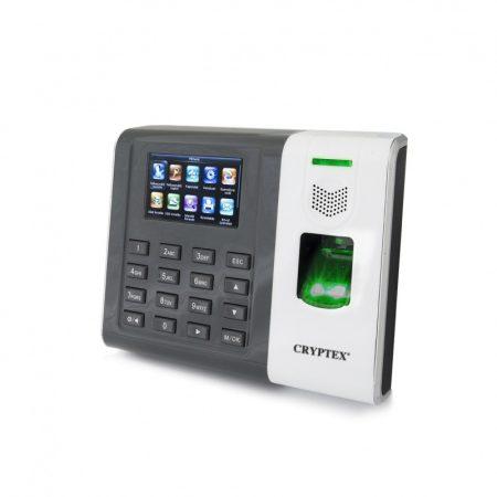 Cryptex időnyílvántartó rendszer, ujjlenyomat, PIN kód és EM-ID kártya azonosítással.