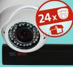 Sec-CAM 1.3MP IP - KÜLTÉRI / BELTÉRI DÓM KAMERA - 24 KAMERÁS KOMPLETT KAMERARENDSZER - valódi 1.3 MegaPixel (HD 960p) biztonsági megfigyelő szett