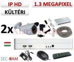 Sec-CAM 1.3MP IP - KÜLTÉRI KOMPAKT KAMERA - 2 KAMERÁS KOMPLETT KAMERARENDSZER - valódi 1.3 MegaPixel (HD 960p) biztonsági megfigyelő szett