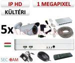 Sec-CAM 1MP IP - KÜLTÉRI KOMPAKT KAMERA - 5 KAMERÁS KOMPLETT KAMERARENDSZER - valódi 1 MegaPixel (HD 720p) biztonsági megfigyelő szett