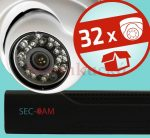 Sec-CAM 1.3MP IP - KÜLTÉRI / BELTÉRI DÓM KAMERA - 32 KAMERÁS KOMPLETT KAMERARENDSZER - valódi 1.3 MegaPixel (HD 960p) biztonsági megfigyelő szett