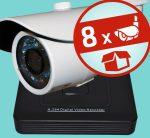 Sec-CAM 2MP AHD - KÜLTÉRI KOMPAKT KAMERA - 8 KAMERÁS KOMPLETT KAMERARENDSZER - valódi 2 MegaPixel (FULL HD 1080p) biztonsági megfigyelő szett