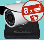 Sec-CAM 1MP AHD - KÜLTÉRI KOMPAKT KAMERA - 8 KAMERÁS KOMPLETT KAMERARENDSZER - valódi 1 MegaPixel (HD 720p) biztonsági megfigyelő szett