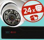 Sec-CAM 1MP IP - KÜLTÉRI / BELTÉRI DÓM KAMERA - 24 KAMERÁS KOMPLETT KAMERARENDSZER - valódi 1 MegaPixel (HD 720p) biztonsági megfigyelő szett