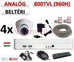 Sec-CAM 960H - 800-1200TVL (0.55MP) ANALÓG - BELTÉRI DÓM KAMERA - 4 KAMERÁS KOMPLETT KAMERARENDSZER - biztonsági megfigyelő szett