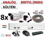 Sec-CAM 960H - 800-1200TVL (0.55MP) ANALÓG - KÜLTÉRI KOMPAKT KAMERA - 8 KAMERÁS KOMPLETT KAMERARENDSZER - biztonsági megfigyelő szett
