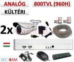 Sec-CAM 960H - 800-1200TVL (0.55MP) ANALÓG - KÜLTÉRI KOMPAKT KAMERA - 2 KAMERÁS KOMPLETT KAMERARENDSZER - biztonsági megfigyelő szett