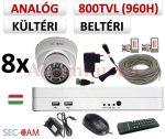 Sec-CAM 960H - 800-1200TVL (0.55MP) ANALÓG - KÜLTÉRI/BELTÉRI DÓM KAMERA - 8 KAMERÁS KOMPLETT KAMERARENDSZER - biztonsági megfigyelő szett