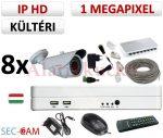 Sec-CAM 1MP IP - KÜLTÉRI KOMPAKT KAMERA - 8 KAMERÁS KOMPLETT KAMERARENDSZER - valódi 1 MegaPixel (HD 720p) biztonsági megfigyelő szett