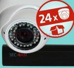 Sec-CAM 2MP POE IP - KÜLTÉRI / BELTÉRI DÓM KAMERA - 24 KAMERÁS KOMPLETT KAMERARENDSZER - valódi 2 MegaPixel (FULL HD 1080p) biztonsági megfigyelő szett
