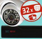 Sec-CAM 1MP IP - KÜLTÉRI / BELTÉRI DÓM KAMERA - 32 KAMERÁS KOMPLETT KAMERARENDSZER - valódi 1 MegaPixel (HD 720p) biztonsági megfigyelő szett