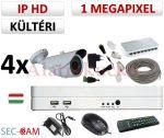 Sec-CAM 1MP IP - KÜLTÉRI KOMPAKT KAMERA - 4 KAMERÁS KOMPLETT KAMERARENDSZER - valódi 1 MegaPixel (HD 720p) biztonsági megfigyelő szett